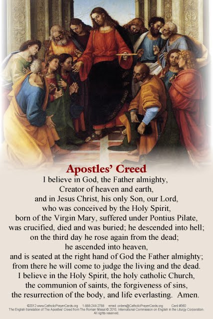 Bilingual Apostles Creed Prayer Card English Spanish