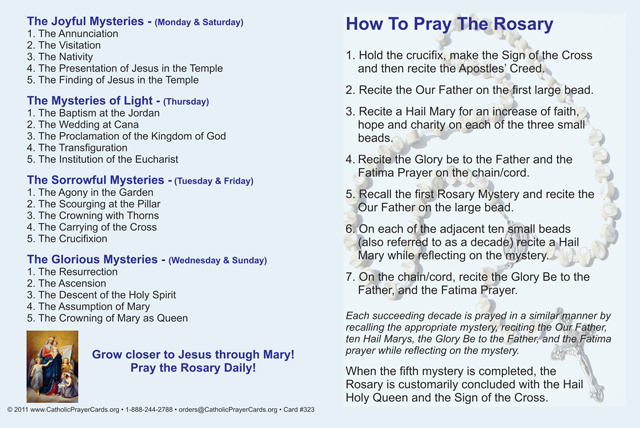 How To Pray The Rosary Fold Over Card