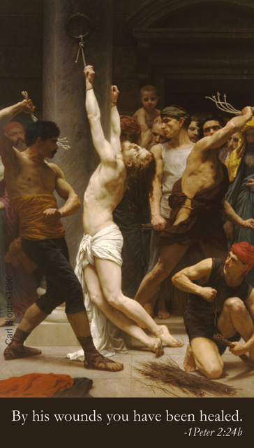 Scourging at the Pillar Prayer Card