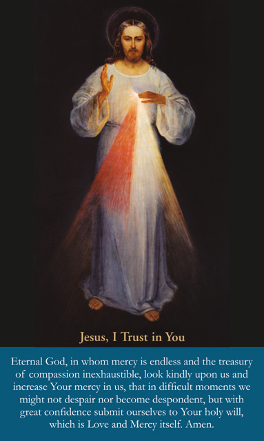 Large Print Divine Mercy Prayer Card