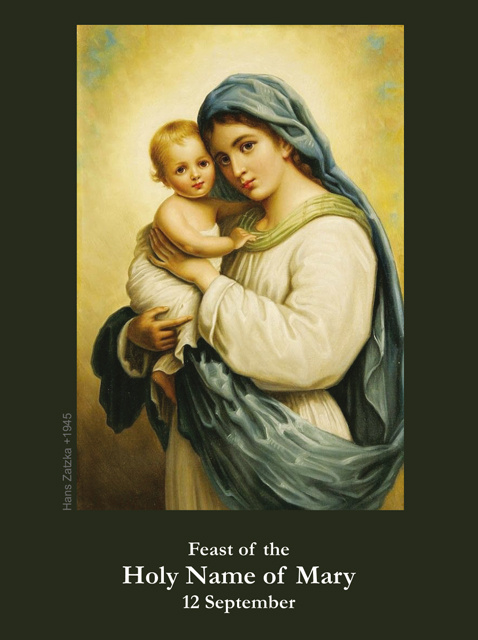SEPTEMBER 12th: Holy Name of Mary Prayer Card***BUYONEGETONEFREE***