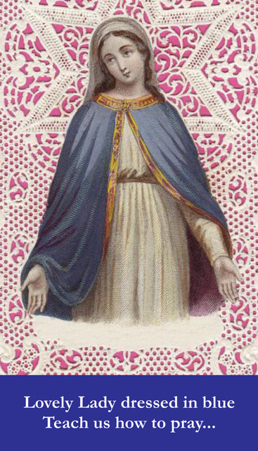*LARGE* Lovely Lady Dressed in Blue Prayer Card