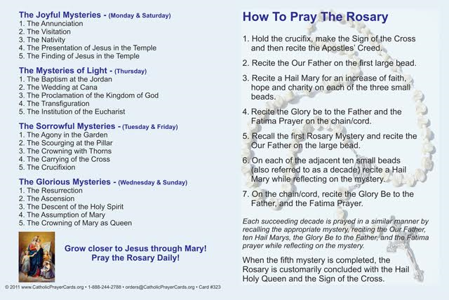 How to Pray the Rosary Fold-over Card