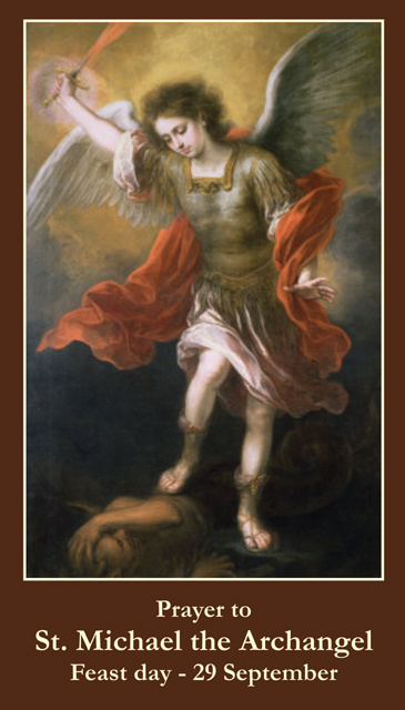 SEPTEMBER 29th: Prayer to St. Michael the Archangel Holy Card***BUYONEGETONEFREE***