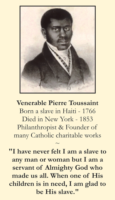Venerable Pierre Toussaint Prayer Card