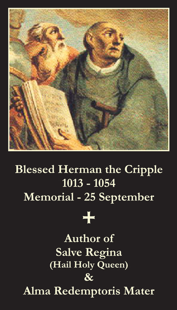Blessed Herman the Cripple Prayer Card