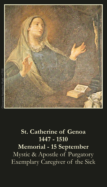 SEPTEMBER 15th: St. Catherine of Genoa Prayer Card ***BUYONEGETONEFREE***
