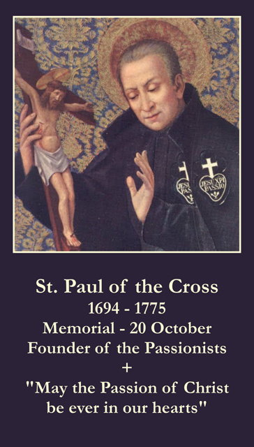 St. Paul of the Cross Prayer Card