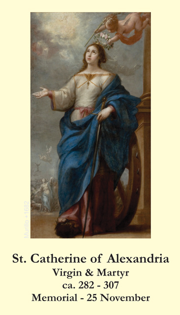 St. Catherine of Alexandria Prayer Card-PATRON OF STUDENTS & TEACHERS