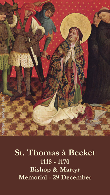 St. Thomas a Becket Prayer Card