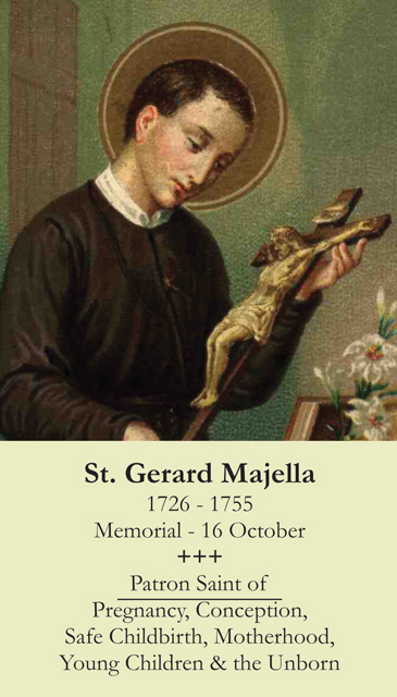 St. Gerard Prayer Card (Patron of Motherhood/Pregnancy)