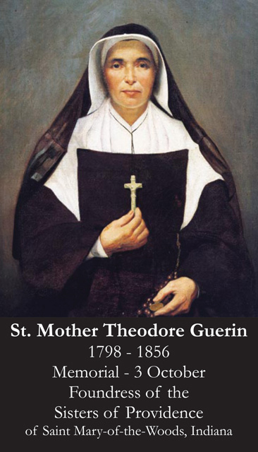 St. Mother Theodore Guerin Prayer Card