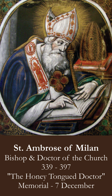 St. Ambrose Prayer Card