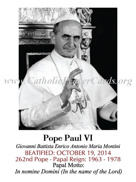 Special Limited Edition Collector's Series Commemorative Pope Paul VI Beatification Holy Cards (LARG