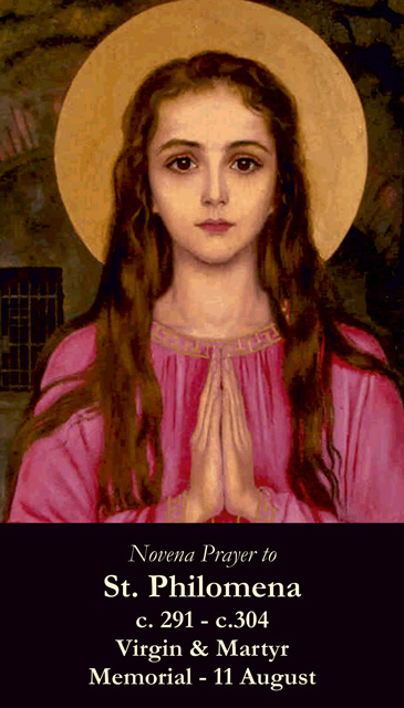 St. Philomena Prayer Card-PATRON OF TEST TAKERS