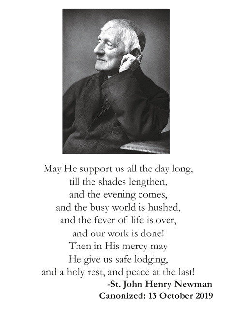 St. John Henry Newman Prayer Card
