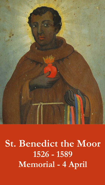 St. Benedict the Moor Prayer Card