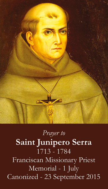 St. Junipero Serra Canonization Commemorative Prayer Card