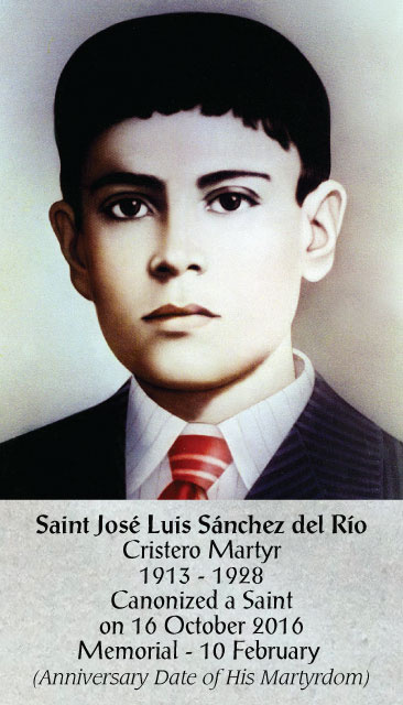 Saint Jose Luis Sanchez del Rio Prayer Card
