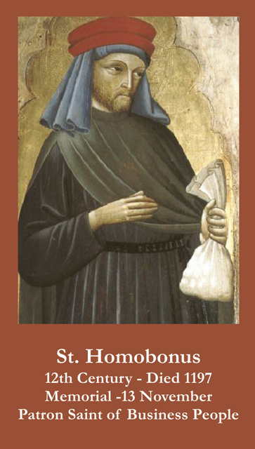 St. Homobonus Prayer Card(PATRON SAINT OF BUSINESS OWNERS-FOR THOSE HURTING DUE TO COVID-19))***ONEF