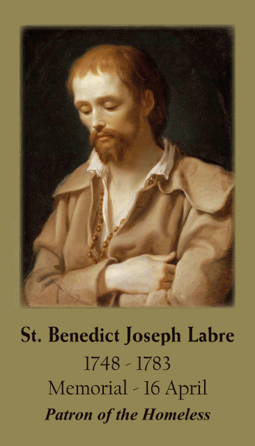 St. Benedict Joseph Labre Prayer Card