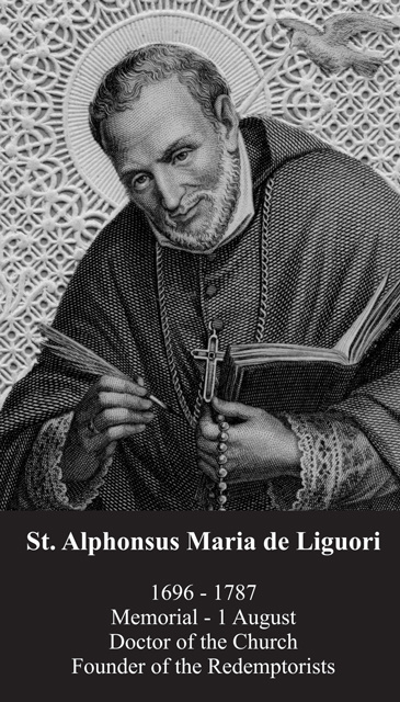 St. Alphonse Ligouri Prayer Card