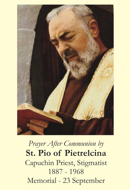 St. Padre Pio Prayer After Communion Card (LARGE)