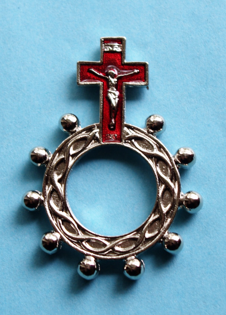 Red Crucifix Rosary Ring