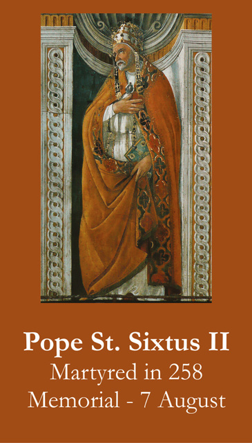 Pope St. Sixtus II Prayer Card