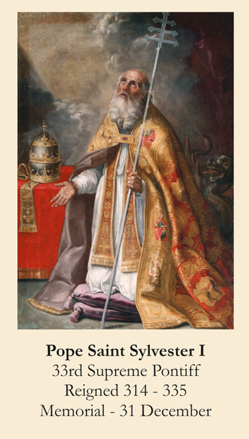 Pope Saint Sylvester I Prayer Card