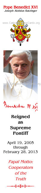 Special Limited Edition Commemorative Pope Benedict XVI Bookmark