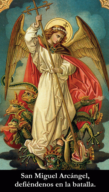 SEPTEMBER 29th:*SPANISH* St. Michael the Archangel Prayer Card***BUYONEGETONEFREE***