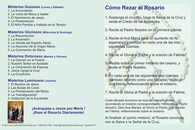graphic relating to How to Pray the Rosary Printable named *SPANISH* How in direction of Pray the Rosary Fold-more than Card
